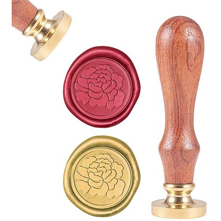 CRASPIRE Wax Seal Stamp, Sealing Wax Stamps Peony Flower Retro Wood Stamp Wax Seal 25mm Removable Brass Seal Wood Handle for Envelopes Invitations Wedding Embellishment Bottle Decoration