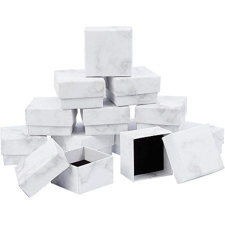 BENECREAT 12 Pack Small Square Kraft Ring Earring Box 2x2x1.2