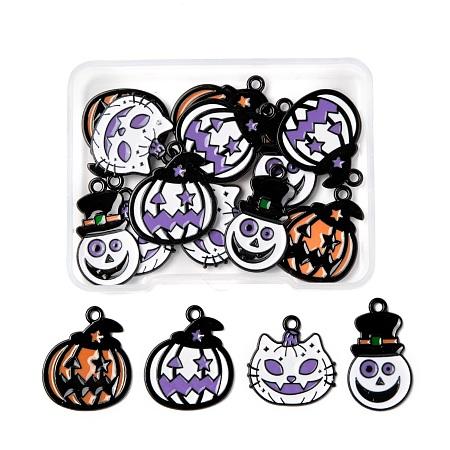 ARRICRAFT 16Pcs 4 Style Alloy Enamel Pendants, for Halloween Day, Grimace & Pumpkin & Cat, Electrophoresis Black, Mixed Color, 4pcs/style