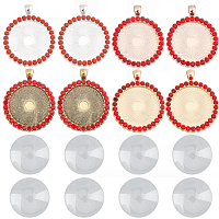 SUNNYCLUE DIY Pendant Making, with Flat Round Alloy Rhinestone Pendant Cabochon Settings and Transparent Glass Cabochons, Light Siam, Tray: 30mm; 48x39x3.5mm, Hole: 4x7mm; 8pcs/set