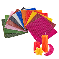 Beeswax Honeycomb Sheets, for Candle Making, Mixed Color, 20x20x0.3cm; 12 colors, 1pc/color, 12pcs/set