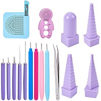 NBEADS 16 Pcs Paper Quilling Tools Set, Plastic Slotted Kit Rolling Curling Quilling Needle Pen with Tweezers Border Tower for Paper Art and Origami Crafts Making