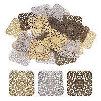 "PandaHall Elite 60pcs 3 Colors 51mm(2"") Square Iron Filigree Charm Pendant Connectors for Earring DIY Jewelry Making, Antique Bronze/Light Gold/Platinum"