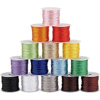 PandaHall Elite 15 Rolls 20M(21.8 Yards)/Roll 1.4mm Metallic Twine Cord, Assorted Colors Polyester Thread for gift wrapping, DIY Crafts, Party Decorating, Party Favor Embellishments, Totally 300M(328 Yards)