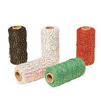 PandaHall Elite 5 Roll 540 Yard Christmas Twine Cotton String Twine Rope Cord with Gold Wire for Christmas DIY Gift Decorations Wrapping Arts Craft