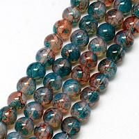 """Nbeads Baking Painted Glass Beads Strands, Imitation Opalite, Round, DarkCyan, 6mm, Hole: 1.3~1.6mm; about 133pcs/strand, 31.4"""""""