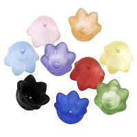 ARRICRAFT 100PCS Mixed Frosted Acrylic Flower Bead Caps, 10mm Wide, 6mm Thick