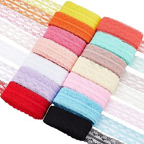BENECREAT 140 Yards 14 Colors Nonelastic Lace Trim Fabric Lace Ribbon for Wedding Party Decorating, Sewing, Jewelry Making, Gift Package Wrapping, 1.6 inch Wide, 10 Yards/Color