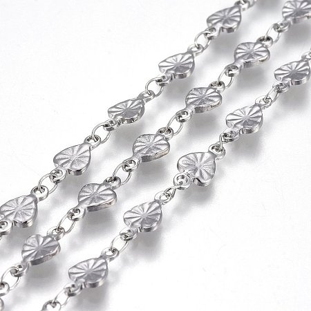 304 Stainless Steel Link Chains, Soldered, Heart, Stainless Steel Color, 10x5x1mm