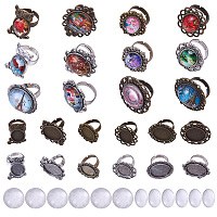 SUNNYCLUE DIY Making, Adjustable Iron Finger Ring Settings, Alloy Cabochon Bezel Setting and Glass Cabochons, Mixed Color