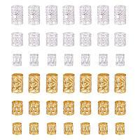 PH PandaHall 300pcs 3 Sizes Dreadlocks Beads Metal Hair Coil Cuffs Filigree Braid Rings Hair Accessory for Braiding Hair Decorations (Silver & Golden)