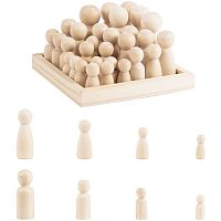 PH PandaHall 30 pcs 8 Styles Natural Unfinished Wood Peg Doll Bodies Wooden People Decorations Family Craft People Set for Arts, Male and Female