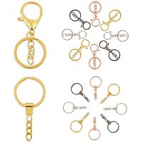 PandaHall Elite 4 Colors 16 pcs Lobster Trigger Swivel Clasps Hooks with 16 pcs Split Key Rings for Keychain Jewelry DIY Craft Making, Totally 32 pcs