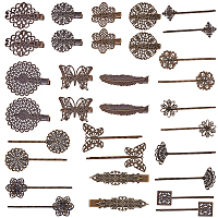SUNNYCLUE DIY Hair Bobby Pin Making, with Iron & Brass Hair Clip Findings, Antique Bronze, 32pcs/set