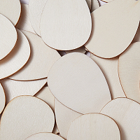 SUNNYCLUE Unfinished Blank Wood Pendants, for DIY Jewelry Making, Teardrop, BurlyWood, 55x37x2.5mm, Hole: 2mm; about 50pcs/bag