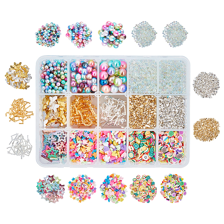 OLYCRAFT DIY Nail Art Decorationgs, include Glass Beads, Zinc Alloy Cabochons, Polymer Clay Slice and ABS Plastic Imitation Pearl Linking Rings, Golden & Silver