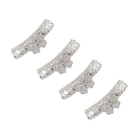 Unicraftale Brass Micro Pave Cubic Zirconia Tube Beads, Clear, Platinum, 26x9.5x7mm, Hole: 3mm; 4pcs/box