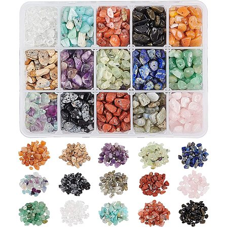 NBEADS 1 Box Gemstone Chips Beads, 15 Styles Natural Irregular Shaped Nugget Loose Beads Energy Stone for Jewelry Making, 5-10mm