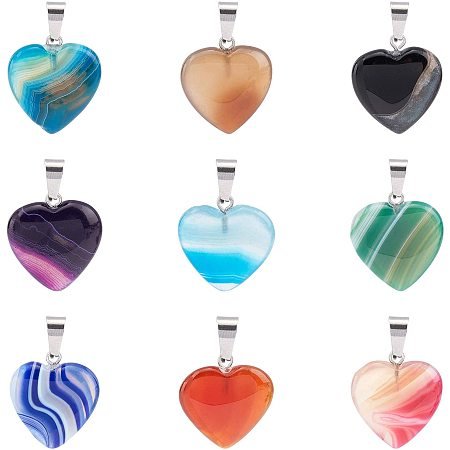 PandaHall Elite Heart Chakra Beads Charms Pendants, 9 Colors Heart Shape Gemstone Pendants with Stainless Steel Snap On Bails for Pendants Necklace Valentine's Day Jewelry DIY Craft Making, 18 Pcs