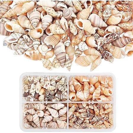 PandaHall Elite About 70g/330pcs 4 Styles Spiral Shells, Ocean Beach Conch Seashells with Hole and No Hole for Bracelet Jewelry, Craft, Home Decoration, Fish Tank and Vase Filler