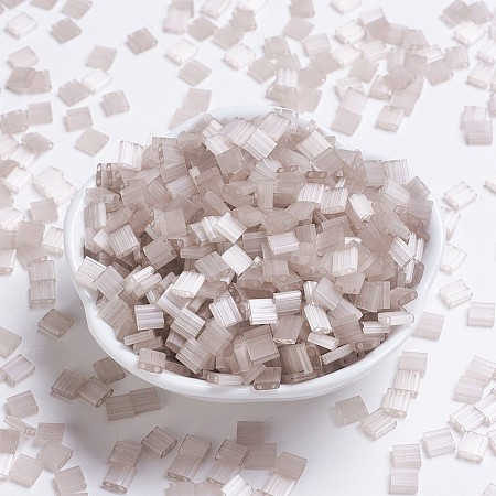 MIYUKI TILA Beads, Japanese Seed Beads, 2-Hole, (TL2553) Silk Pale Light Lilac, 5x5x1.9mm, Hole: 0.8mm; about 118pcs/10g