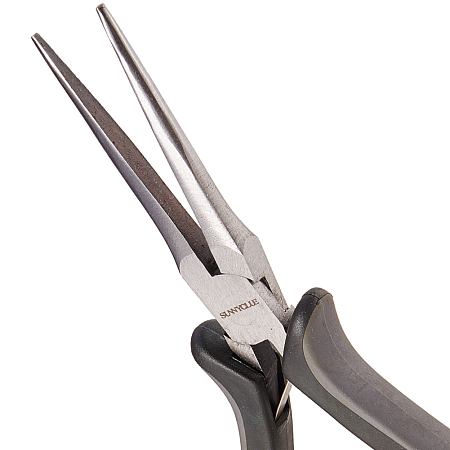 SUNNYCLUE 45# Carbon Steel Jewelry Pliers, Long Chain Nose Pliers, Needle Nose Pliers, Polishing, Black, 15.2x7.7x1.7cm