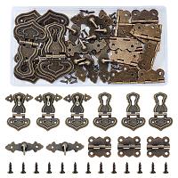 Iron Lock Catch Clasps, Jewelry Box Latch Hasp Lock Clasps, with Wooden Box Accessories Iron Hinge, Antique Bronze, 63x39x4mm, Hole: 2.5mm; 8sets/box