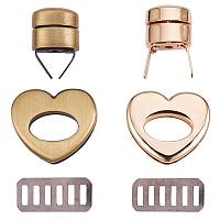 PandaHall Elite 4 Sets Heart Shapes Zinc Alloy Bag Twist Lock Handbags Turn Lock Accessories for DIY Jewelry Making, Antique Bronze & Golden