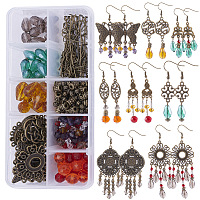 SUNNYCLUE DIY Retro Chandelier Earring Making Kits, with Tibetan Style Alloy Findings, Glass Beads and Brass Earring Hooks, Antique Bronze