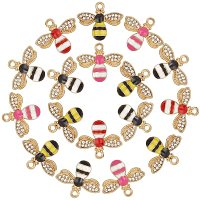 NBEADS 40 Pcs 4 Colors Enamel Bee Charm Pendants, Cubic Zirconia Alloy Animal Charms for DIY Jewelry Crafts Making, Hole: 1.8mm