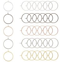 PandaHall Elite 200 pcs 5 Color 20mm Brass Round Hoop Earrings Wire Hoops Wine Glass Charm Rings Beading Hoop for DIY Craft Making Party Favors