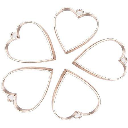 PandaHall Elite 20 pcs Alloy Heart Shape Open Back Bezel Pendants with Loop for UV Resin Crafts Craft Supplies, Rose Gold