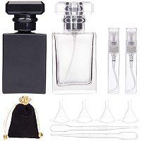 BENECREAT 2PCS 30ml Square Glass Perfume Bottles Atomizer Empty Bottle with 2PCS 5ml Plastic Spray Bottle, 2PCS Dropper, 2PCS Hopper and 1PC Storage Bags for Perfume Travel