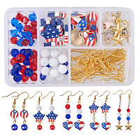SUNNYCLUE 1 Set 160pcs DIY USA American Flag Patriotic Red Blue Dangle Drop Earrings Making Kit 4th of July Independence Day Gift - Make 12 Pairs Earrings