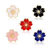Creative Zinc Alloy Brooches, Enamel Lapel Pin, with Iron Butterfly Clutches or Rubber Clutches, Sakura Flower, Golden, Mixed Color, 17x18mm; Pin: 1mm, 5pcs/set