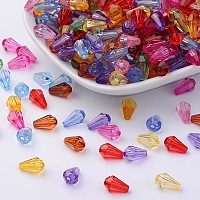 Transparent Acrylic Beads, teardrop, Mixed-Color, Dyed, about 9mm long, 6mm wide, hole:1.2mm