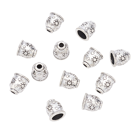 SUPERFINDINGS Tibetan Style Alloy Cord End Caps, Lead Free, Antique Silver, 11x10mm, Hole: 3mm, 50pcs/box