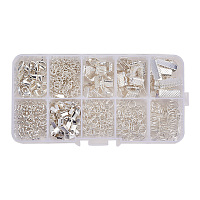 PandaHall Elite About 440Pcs Silver Jewelry Findings Sets with Fold Over Crimp Ends Ribbon Ends Twist Chains and Brass Lobster Claw Clasps