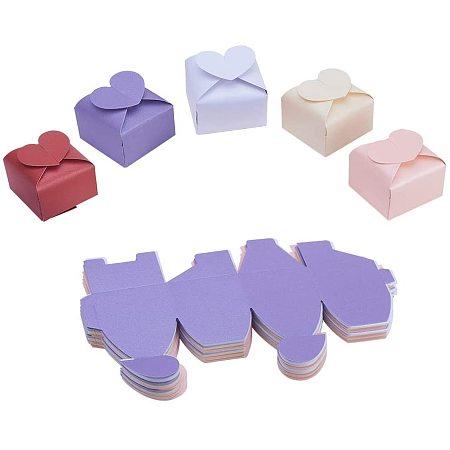 Creative Paper Box, Wedding Favour Boxes, Heart, Mixed Color, 6x6x4.5cm; 50pcs/set