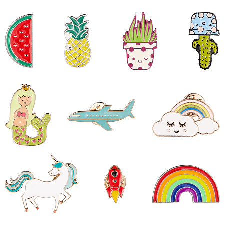 SUNNYCLUE Alloy Brooches, with Enamel and Iron Badge Lapel Pin, Mixed Shapes, Mixed Color, 74x72x17mm; 10pcs/box
