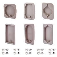 DIY Candle Silicone Molds Kits, Resin Casting Molds, with Brass Grommet Eyelet Findings, Gray, 105x65x10mm, Inner Diameter: 92x50mm, 1pc