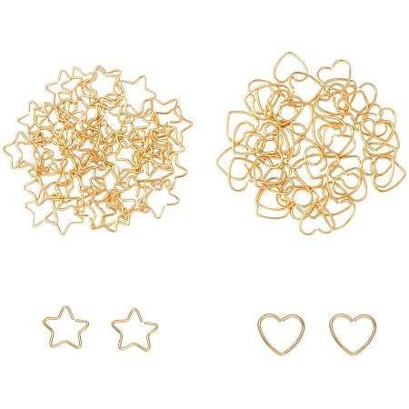 Unicraftale 304 Stainless Steel Open Jump Rings, Heart & Star, with Bead Container, Golden, 6.8x5.2x1.1cm, 100pcs/box