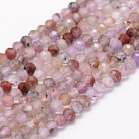 Arricraft Natural Super Seven Strawberry Quartz Beads Strands, Faceted, Round, 3mm, Hole: 0.5~0.6mm, about 144~145pcs/strand, 15.3~15.7 inches(39~40cm)
