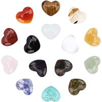 SUNNYCLUE Gemstone Cabochons, Heart, 15x18x6mm; 15 materials, 1pc/material, 15pcs/box