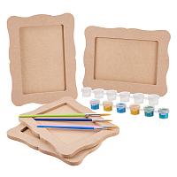 DIY Photo Frames Makings, with Unfinished Wooden Photo Frames, Plastic Art Brushes Pen Value Sets, 6 box lastic Empty Paint Palette, Mixed Color, 185x140mm