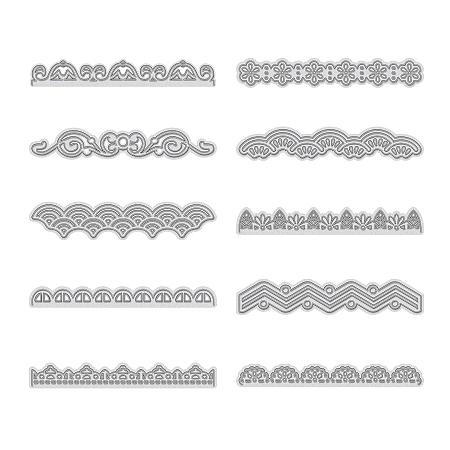 GLOBLELAND Carbon Steel Cutting Dies Stencils,  for DIY Scrapbooking/Photo Album, Decorative Embossing DIY Paper Card, Lace Shape, Matte Platinum Color, 8~85x11~85x0.83mm, 10pcs/set