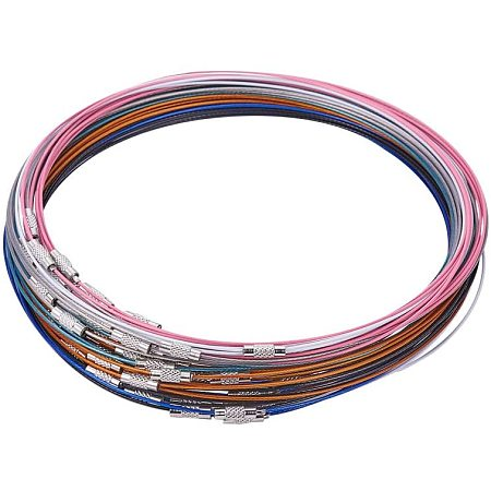 Unicraftale Stainless Steel Wire Necklace Cord, DIY Jewelry Making, with Brass Screw Clasp, Mixed Color, 17.5 inchesx1mm; Diameter: 14.5cm, 64pcs/set