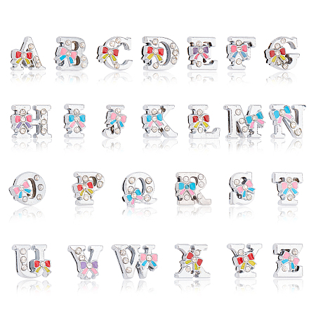 NBEADS Alloy Beads, with Crystal Rhinestone and Enamel, Initial Letters Style, Alphabet with Bowknot, Letter A~Z, 12.5x8.5~16.5x5~5.5mm, Hole: 1.5mm, 52pcs/box