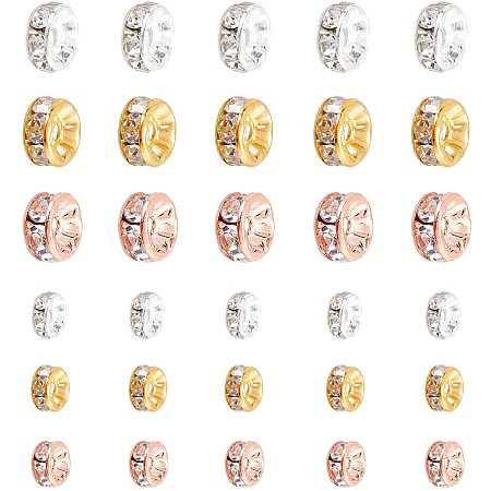 Arricraft Brass Rhinestone Spacer Beads, Grade A, Straight Flange, Silver Color Plated, Rondelle, Mixed Color, 300pcs/box