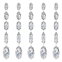 Olycraft Sew on Rhinestone, Glass Rhinestone, with Platinum Tone Brass Prong Settings, Garments Accessories, Faceted, Horse Eye, Clear, 74x73x25mm, 100pcs/box